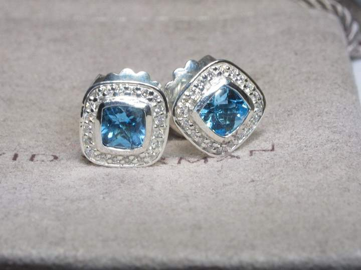 David Yurman Petite Albion 925 Sterling Silver with Blue Topaz and Diamond Earrings