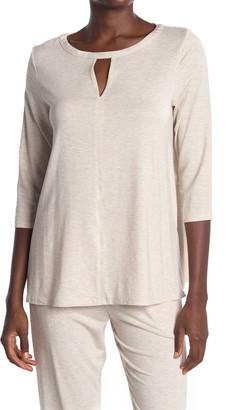 Donna Karan Heathered Keyhole 3/4 Sleeve Pajama Top
