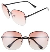 BP Women's 60Mm Rimless Square Sunglasses - Black/ Pink