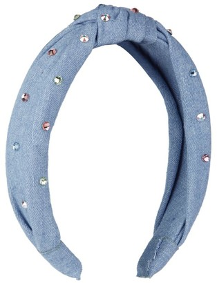 Bari Lynn Embellished Denim Knot Headband