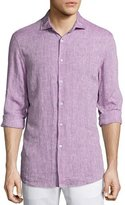 Michael Kors Long-Sleeve Linen Shirt, Pink