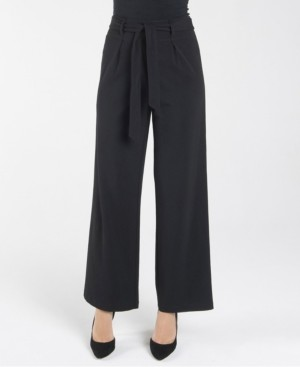 nanette Nanette Lepore Elastic Stretch Regular Wide Leg Loose Pant with Self Sash Belt
