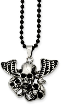 Chisel Stainless Steel Antiqued Skulls Necklace