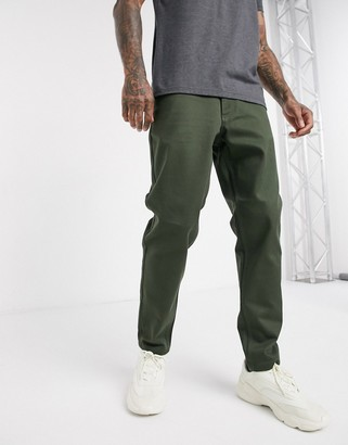 Selected slim tapered fit heavy twill trousers in khaki