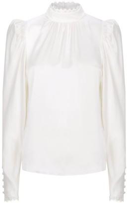Frame Lace-Trim Silk Blouse