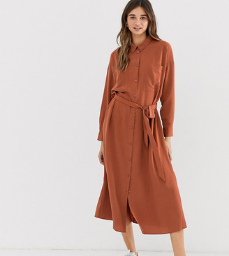 Monki midi belted shirt dress with pockets in rust