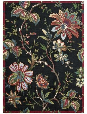 "Waverly Artisanal Delight Floral Black Area Rug Rug Size: Runner 2'6"" x 8'"