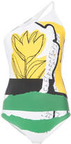 Oscar de la Renta one shoulder printed swimsuit