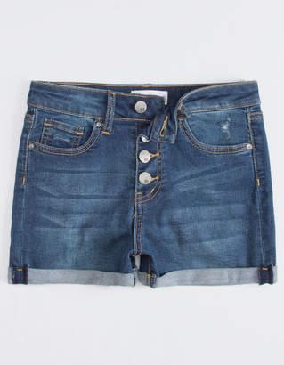 Rsq Sunset High Rise Exposed Button Dark Wash Girls Denim Shorts