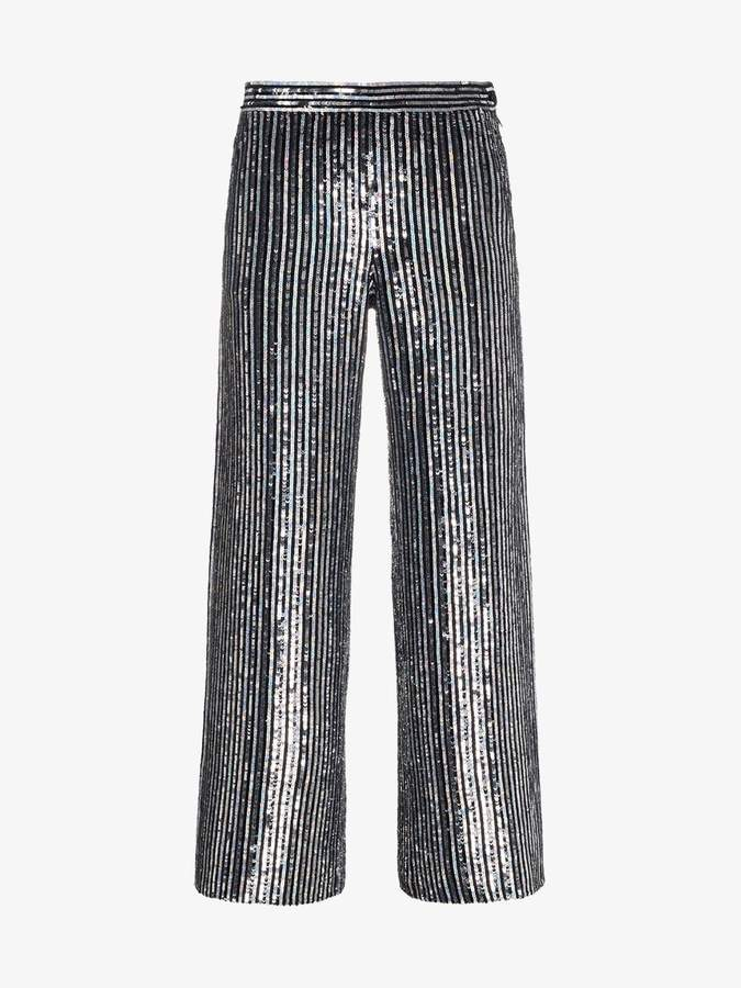 Ashish sequin embellished stripe flared cropped trousers