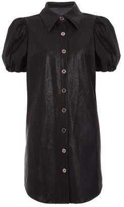 Quiz Black Faux Leather Shirt Dress