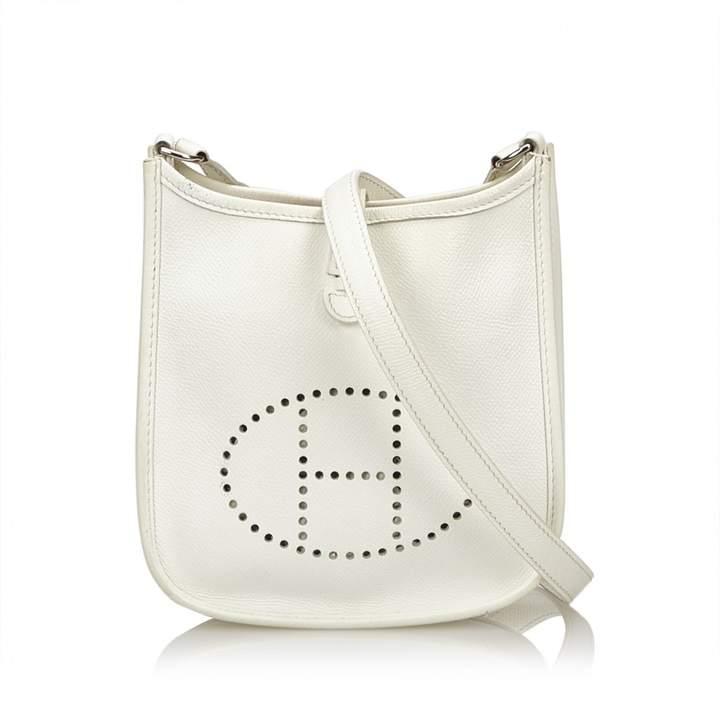 Hermes Evelyne White Leather Handbag