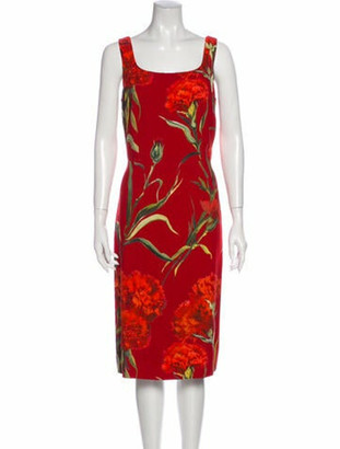Dolce & Gabbana Floral Print Midi Length Dress Red