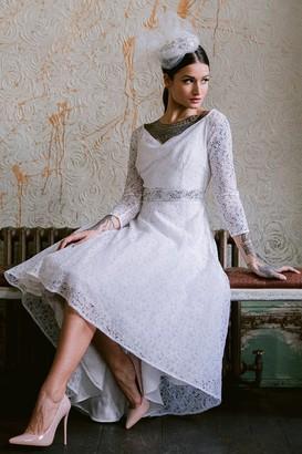 Linzi Rock n Roll Bride Roma White Lace Bardot Dress