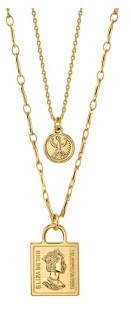 Unwritten Gold Flash Plated Coin Layered Pendant Necklace