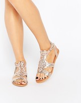 Asos FAN Leather Woven Flat Sandals