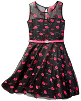 Betsey Johnson Mesh Overlay Sateen Lip Dress (Big Girls)