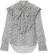 Veronica Beard Finley Pussy-bow Floral-print Silk-chiffon Blouse - Gray