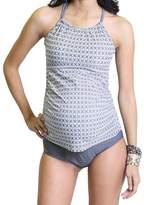 Oceanlily Halter Women's Swimsuit TANKINI TOP Charcoal/W Prt L