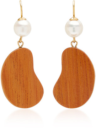 Sophie Monet The Bean Gold-Plated, Pearl and Mahogany Wood Earrings