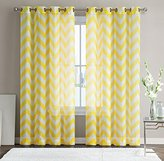 "HLC.ME Chevron Printed Premium Window Sheer Curtain Voile Panels With Grommets for Living Room, Bedroom & Kids Room - 2 Panel Set - 84"" Inch Long (Bright Yellow)"