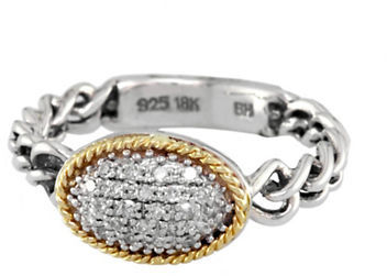 EFFY Sterling Silver with 18Kt. Yellow Gold Diamond Ring