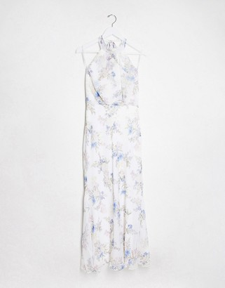 Forever New high neck maxi dress in bluebell ivory floral print