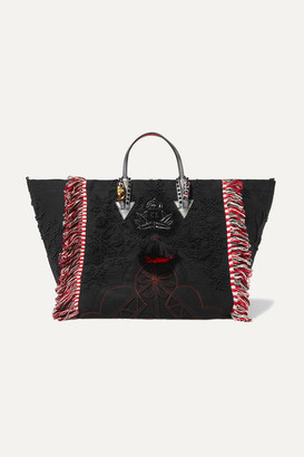Christian Louboutin Portugaba Fringed Leather-trimmed Canvas Tote - Black