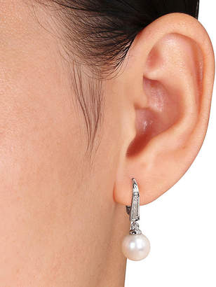 FINE JEWELRY Cultured Freshwater Pearl and Diamond Accent Sterling Silver Clip Earrings
