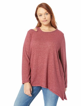 Democracy Women's Plus Size Long Sleeve One Shoulder Cut Out Sweater
