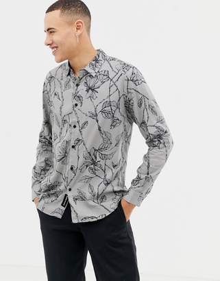 NATIVE YOUTH floral print shirt-Gray