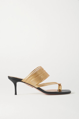 Aquazzura Sunny Metallic Leather Sandals - Black