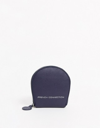 French Connection leather circular zip coin purse in dalmation navy