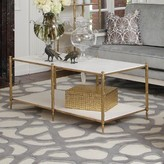 The Well Appointed House Global Views Arbor Two-Tier Cocktail Table in Brass with White Marble Tops