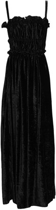 ALEXACHUNG Shirred Cutout Crushed-velvet Maxi Dress