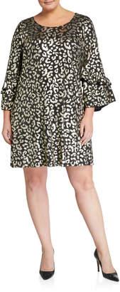 Robbie Bee Signature By Plus Size Foil Leopard Tier-Sleeve Dress