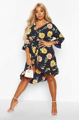boohoo Plus Floral Polka Dot Asymmetric Wrap Midi Dress