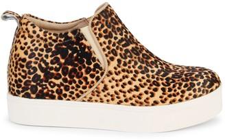 J/Slides Sallie Leopard Calf Hair Platform Sneakers