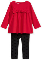 First Impressions 2-Pc. Bows Tunic & Flocked-Dot Leggings Set, Baby Girls (0-24 months), Only at Macy's