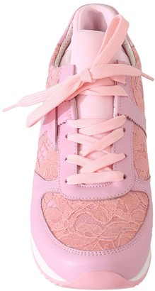 Dolce & Gabbana Pink Floral Lace Leather Sneakers Size 35