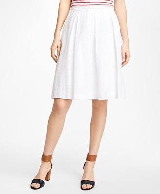 Brooks Brothers Pleated Cotton Eyelet Skirt