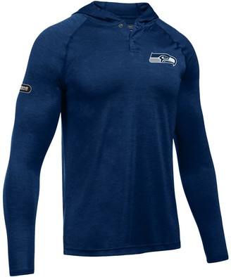 Men's Under Armour College Navy Seattle Seahawks Combine Authentic Hooded Novelty Tech Twist Performance Long Sleeve T-Shirt