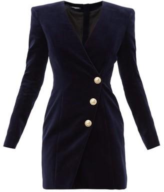 Balmain Buttoned Velvet Mini Dress - Womens - Navy