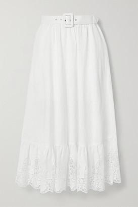 Miguelina Debbie Belted Crochet-trimmed Embroidered Linen Midi Skirt