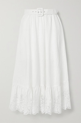 Miguelina Debbie Belted Crochet-trimmed Embroidered Linen Midi Skirt - White