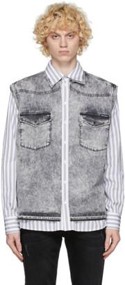 Dolce & Gabbana White and Grey Denim Vest Shirt
