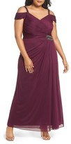 Alex Evenings Plus Size Women's Embellished Cold Shoulder Gown