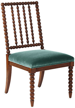 One Kings Lane Barton Spindle Side Chair - Chestnut/Jade Velvet