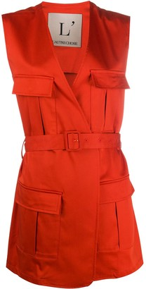 L'Autre Chose Cargo-Pocket Belted Vest