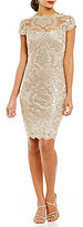 Tadashi Shoji Illusion Neck Sequin Lace Dress
